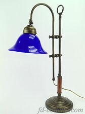 Lampada ottone brunito da tavolo,lampade ufficio,ministeriale vetro blu slg4