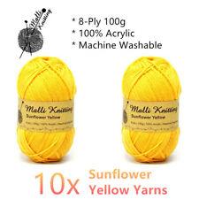 Malli 8ply Acrylic Knitting Crochet Yarn 100g - Sunflower Yellow