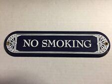 """Vintage Navy Blue & White Enamel Metal No Smoking Wall Door Sign 10"""" x 2.5"""""""