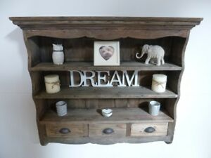 Farmhouse Style Wooden Wall Rack - Rustic Look Wall Shelves