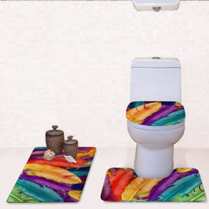 3PCS Bathroom Non-Slip Pedestal Rug Lid Toilet Cover Bath Mat Set Feather Design