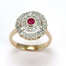 14k Solid Rose (Pink) & White Gold Genuine Ruby Ring # R2047