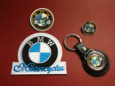 BMW MOTORCYCLES, LEATHER KEY RING,  BADGE & PATCH SET + FREE BMW PHONE STICKER