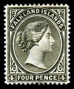 Falkland Islands. 1889. 4d. Olive Gray Black. SC# 6b. Wmk CA. MLH. SCV $200