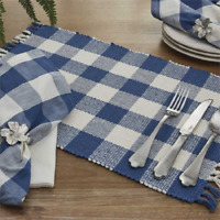Set of 4 Park Designs WICKLOW  Placemats China Blue, Winter White Buffalo Check