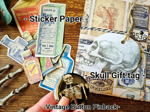 Vintage Ephemera Pocket witch Labels Poisons Apothecary Vintage Button Pinback