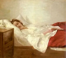Nice Oil painting carl vilhelm holsoe - asleep young woman holding book on bed