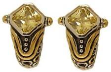 Cubic Zirconia Designer Earring Yellow Swarovski stone white & 18Kt gold NWT