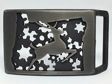 Oregon State Metal Belt Buckle Hand Made 3D Cut W/ Deer And Gears Brand New