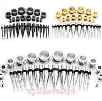 28pcs Mix Gauges Steel Taper Stretching Kit + Screw Plug Tunnel Ear Expander Lot