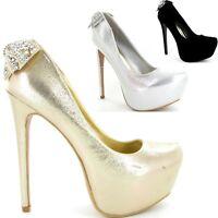 Womens Ladies High Heel Stiletto Court Pumps Concealed Platform New Shoes Size