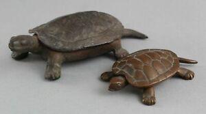 2 Antique Miniature Cast Iron & Bronze Turtle Sculpture Figural Box NO RESERVE