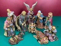 11 Piece Set  Vintage Porcelain Gold Glitter & Jewels Christmas Nativity