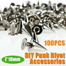100Pcs Silver Alloy Bag Studs Cone Punk Spikes Spots Rivets Leather Craft DIY