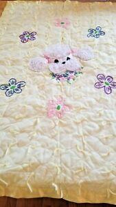 Vintage Crib Blanket Animal Poodle quilted Satin Edged Trim BAby Lovey