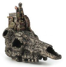 "8.25"" Steampunk Machinarium on Top of Skull Statue Sculpture Gothic Home Decor"