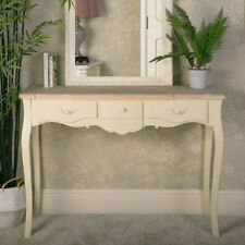 ornate cream wood 3 drawer console table vintage French chic bedroom hallway