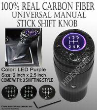 JDM Carbon Fiber Shift Knob Purple LED Sport Racing Manual Threaded Shifter R102