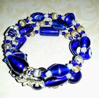 Memory Wire Bracelet with blue & white Glass Beads  Charm on ends FREE SHIPPING