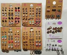 Lot of 105 Pairs of Studs Hoops  and Dangle Earrings Hypo Allergenic New