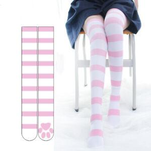 Cute High Stockings Lolita Women Girls Gothic Striped Cosplay Socks Hosiery