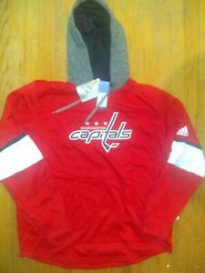 adidas NHL Washington Capitals Platinum Jersey Hoodie Sweatshirt Men's XLarge