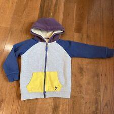 Boys Mini Boden Full Zip Hoodie Jacket Gray Blue Yellow Cotton Sz 6-7 Yrs