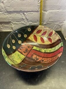 Large African Bowls Decorative Pair with Tribal Design 2 Bowls, Red/Brown/Green
