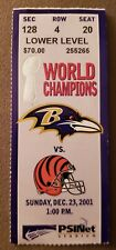 2001 BALTIMORE RAVENS NFL TICKET STUB VS CINCINNATI BENGALS