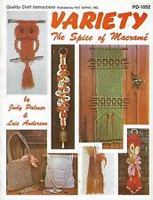 Vtg Macrame Patterns Variety The Spice of Macrame Craft Instructions Book PD1052