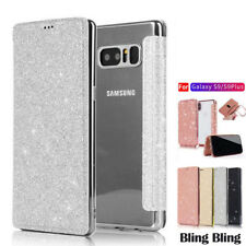 For Samsung Galaxy S6 Edge S9+ Plus Glitter Bling Leather Flip Phone Case Cover