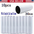 Best Sublimation Waters - 10PCS 30oz Sublimation Blank White Skinny Tumbler Insulated Review