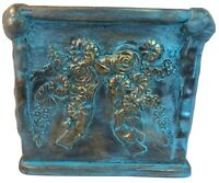 Terra Cotta Blue/Gold Glazed Pottery Square Planter Large