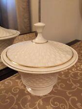 Lenox Basket Weave Covered Dish Usa Vintage