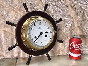 Vintage Germany SCHATZ ROYAL MARINER Brass Ship's Bell Strike Clock,4 Jewels