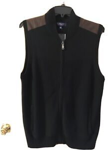 Roundtree & Yorke Men Full Zip Sweater Vest Sz L XL Black Suede Shoulder NWT