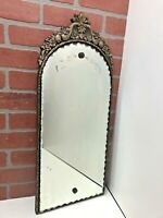 "26"" Antique Art Deco Wall Mirror Ornate Carved Wood Frame Etched Ruffled Glass"