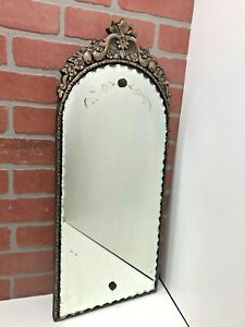 """26"""" Antique Art Deco Wall Mirror Ornate Carved Wood Frame Etched Ruffled Glass"""