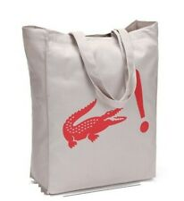 Lacoste Live L!ve Iconic Alligator Beige Canvas Tote Bag School Shopping NEW