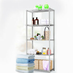 5 Tier Silver Metal Storage Rack/Shelving Wire Shelf Kitchen/Office Unit Stand