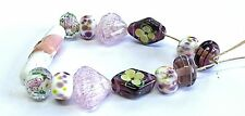 "UNIQUE HANDMADE LAMPWORK GLASS  BEADS, ""PINK MIX """