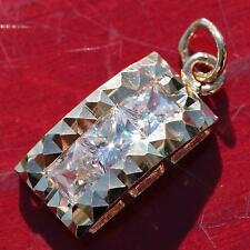 14k yellow gold pendant 0.75ct white topaz faceted charm vintage handmade 1.3gr
