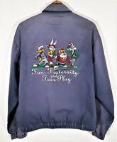 Vintage 1994 ACME Looney Tunes Canvas Harrington Jacket Bugs Taz Golf Coat 90s M