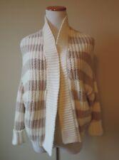 Women's Express Tan & Cream Striped Cardigan Sweater Size XS