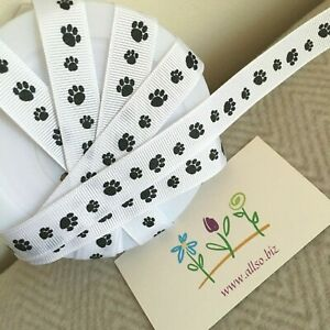 16mm Pet Cat Dog Paw Print Grosgrain Ribbon 1m, 2m, 5m, 10m, 20m - FREE POSTAGE