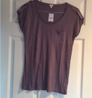 NWT J.Crew Factory Short Sleeve Scoop Neck Pocket Tee T-shirt in Purple Size S