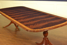 Leighton Hall Traditional Crotch Mahogany Double Pedestal Dining Table 12 ft.