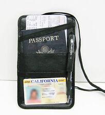 Black Men Women Leather Neck PASSPORT ID Boarding Pass Travel Holder Wallet NWT