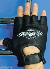 Gants moto mitaines cuir noir EAGLE Taille M