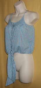 Ralph Lauren girl white checker short button blouse cami top tie elastic waist